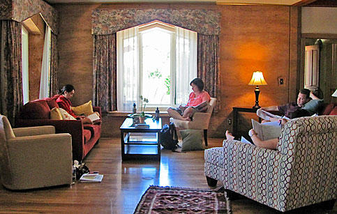 Writers in the Gaia House living room